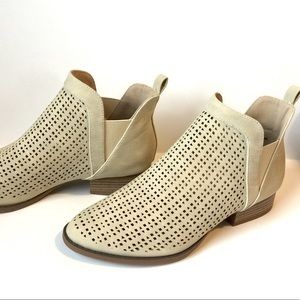 RESTRICTED CREAM BOOTIES / Flat Shoes,Size 9